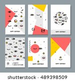 set of cards for the holiday. | Shutterstock .eps vector #489398509