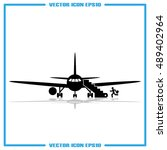 plane and passenger icon vector ... | Shutterstock .eps vector #489402964