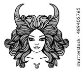 zodiac sign. hand drawn... | Shutterstock .eps vector #489403765