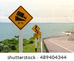 steep hill descent signs with... | Shutterstock . vector #489404344