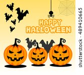 vector image happy halloween | Shutterstock .eps vector #489410665