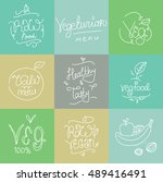 vegetarian food labels. hand... | Shutterstock . vector #489416491