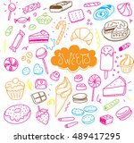 hand drawn sweets and candies... | Shutterstock . vector #489417295