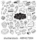 hand drawn sweets and candies... | Shutterstock . vector #489417304
