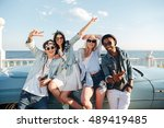 group of cheerful young friends ... | Shutterstock . vector #489419485