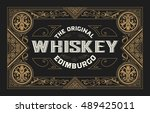 whiskey label with old frames | Shutterstock .eps vector #489425011