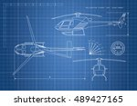 engineering drawing helicopter... | Shutterstock .eps vector #489427165