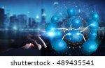 businessman connecting blue... | Shutterstock . vector #489435541