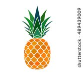 pineapple with leaf icon.... | Shutterstock .eps vector #489439009