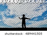 refugee children concept. child ... | Shutterstock . vector #489441505