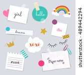stickers and note papers... | Shutterstock .eps vector #489442294