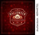 halloween typographic greeting...   Shutterstock .eps vector #489449701