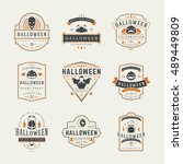 halloween celebration labels... | Shutterstock .eps vector #489449809