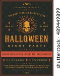 halloween night party poster... | Shutterstock .eps vector #489449899