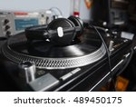 hip hop dj place.pro turntables ... | Shutterstock . vector #489450175