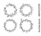vector set of hand drawn floral ... | Shutterstock .eps vector #489452359