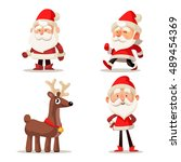 set of christmas characters.... | Shutterstock .eps vector #489454369