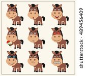 vector set isolated emotion... | Shutterstock .eps vector #489456409