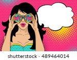 wow pop art face. sexy... | Shutterstock .eps vector #489464014