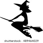 silhouette witch on broom ... | Shutterstock .eps vector #489464029