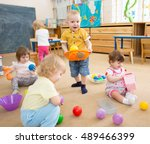 kids playing with balls in... | Shutterstock . vector #489466399