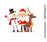 christmas picture with santa ... | Shutterstock .eps vector #489466651