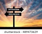 belief concept. road sign... | Shutterstock . vector #489473629