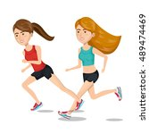 two girl cartoon running... | Shutterstock .eps vector #489474469