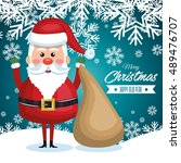 postcard with santa claus and... | Shutterstock .eps vector #489476707