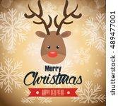 postcard reindeer merry... | Shutterstock .eps vector #489477001