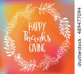 happy thanksgiving card... | Shutterstock .eps vector #489477094
