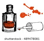 hand drawn nail polish bottle.... | Shutterstock .eps vector #489478081
