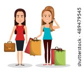two woman worker and buy design | Shutterstock .eps vector #489479545