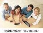 upper view of start up business ... | Shutterstock . vector #489483607