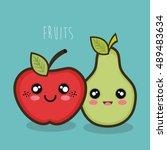 cartoon apple and pear facial... | Shutterstock .eps vector #489483634
