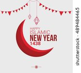 happy islamic new year  happy... | Shutterstock .eps vector #489484465