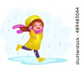 girl in raincoats and rubber... | Shutterstock .eps vector #489485044