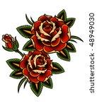tattoo style roses | Shutterstock .eps vector #48949030