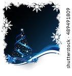 christmas tree on winter dark... | Shutterstock .eps vector #489491809