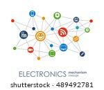 electronics mechanism. abstract ...   Shutterstock .eps vector #489492781
