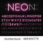 realistic neon alphabet on a... | Shutterstock .eps vector #489494779