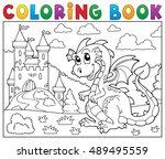 coloring book dragon near... | Shutterstock .eps vector #489495559