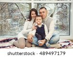family portrait at home. happy... | Shutterstock . vector #489497179