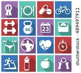fitness and health icons with... | Shutterstock .eps vector #489497911