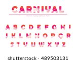 modern origami festive font... | Shutterstock .eps vector #489503131