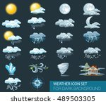 vector weather forecast icons... | Shutterstock .eps vector #489503305