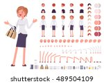 Female clerk character creation set. Build your own design. Cartoon vector flat-style infographic illustration | Shutterstock vector #489504109