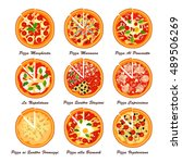 set of italian pizza. creative... | Shutterstock .eps vector #489506269