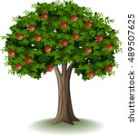 red apples on apple tree | Shutterstock .eps vector #489507625
