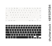 set of laptop keyboards in... | Shutterstock .eps vector #489509584
